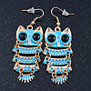 Light Blue Enamel 'Owl' Drop Earrings In Gold Plating - 7cm Length