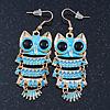 Light Blue Enamel 'Owl' Drop Earrings In Gold Plating - 7cm Length