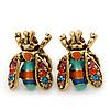 Funky Multicoloured Enamel, Diamante 'Fly' Stud Earrings - 17mm Length