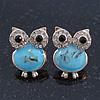 Funky Light Blue Crystal 'Owl' Stud Earrings In Gold Plating - 18mm Length