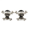 Teen Black/ White Enamel &#039;Skull &amp; Crossbones&#039; Stud Earrings In Rhodium Plating - 20mm Width