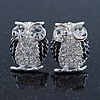 Clear Crystal Black Enamel 'Owl' Stud Earrings In Silver Plating - 18mm Length