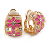 C-shape Crystal, Pink Enamel Floral Clip On Earrings In Gold Tone - 16mm L