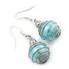 Silver Tone Light Blue Faux Pearl Drop Earrings - 4cm Drop