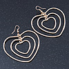 Large Triple Heart Hoop Drop Earrings In Gold Plating - 65mm Length