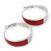 Medium Wide Red Enamel Hoop Earrings In Rhodium Plating - 40mm Diameter