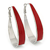 Rhodium Plated Red Enamel Oval Hoop Earrings - 6cm Length