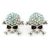 AB Crystal 'Skull & Crossbones' Stud Earrings In Rhodium Plating - 20mm Length