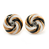 Black/ White Enamel, Diamante 'Candy' Stud Earrings In Gold Plating - 13mm Diameter