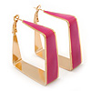 Contemporary Square Fuchsia Enamel Hoop Earrings In Gold Plating - 40mm Width