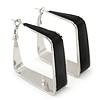 Contemporary Square Black Enamel Hoop Earrings In Rhodium Plating - 40mm Width