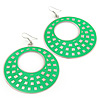 Large Lightweight Bright Green Enamel Hoop Earrings In Rhodium Plating - 8cm Drop