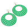 Large Lightweight Bright Green Enamel Hoop Earrings In Rhodium Plating - 8cm Drop