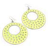 Large Lightweight Neon Yellow Enamel Hoop Earrings In Rhodium Plating - 8cm Drop