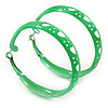 Medium Neon Green Enamel Cut Out Heart Hoop Earrings - 50mm Diameter
