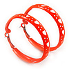 Medium Neon Orange Enamel Cut Out Heart Hoop Earrings - 50mm Diameter