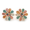Multicoloured Austrian Crystal Cat Eye 'Daisy' Stud Earrings In Gold Plating - 20mm Length