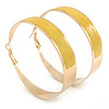Large Wide Yellow Enamel Hoop Earrings In Gold Plating - 60mm Diameter