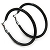 Large Black Enamel Hoop Earrings In Silver Tone - 60mm Diameter