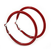 Large Red Enamel Hoop Earrings In Silver Tone - 60mm Diameter