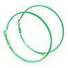 Large Lime Green Enamel Flat Hoop Earrings In Silver Tone - 60mm Diameter