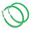 Large Lime Green Enamel Hoop Earrings In Silver Tone - 60mm Diameter