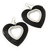 Large Black Enamel 'Heart' Hoop Earrings In Rhodium Plating - 70mm Drop