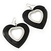 Large Black Enamel 'Heart' Hoop Earrings In Rhodium Plating - 70mm Drop