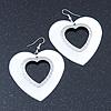 Large White Enamel 'Heart' Hoop Earrings In Rhodium Plating - 70mm Drop