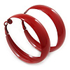 Wide Medium Red Enamel Hoop Earrings - 50mm Diameter