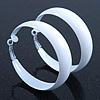 Wide Medium White Enamel Hoop Earrings - 50mm Diameter