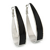 Rhodium Plated Black Enamel Oval Hoop Earrings - 6cm Length