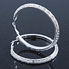 Large Light Silver Tone Mesh Hoop Earrings - 65mm Diameter