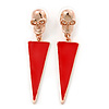 Red Enamel Triangular Skull Drop Earrings In Gold Plating - 65mm Length