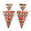 Multicoloured Enamel Geometric Egyptian Style Drop Earrings In Gold Plating - 55mm Length