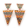 Yellow, Green Enamel Geometric Egyptian Style Drop Earrings In Gold Plating - 55mm Length