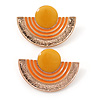 Yellow, Orange Enamel 'Half Moon' Egyptian Style Stud Earrings In Gold Plating - 45mm Width