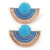 Light Blue Enamel 'Half Moon' Egyptian Style Stud Earrings In Gold Plating - 45mm Width
