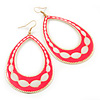 Long Lightweight Neon Pink/ White Enamel Oval Hoop Earrings In Gold Plating - 85mm Drop