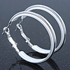 Medium White Enamel Hoop Earrings In Silver Tone - 40mm Diameter
