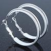Medium White Enamel Hoop Earrings In Silver Tone - 40mm Diameter