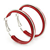 Medium Red Enamel Hoop Earrings In Silver Tone - 40mm Diameter