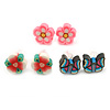 Children's/ Teen's / Kid's Fimo Pink Flower, White/Green Flower & Black/Blue Butterfly Stud Earrings Set - 10mm Across