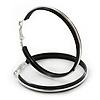 Large Black Enamel Hoop Earrings In Silver Tone - 50mm Diameter