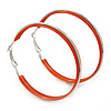 Large Coral Orange Enamel Hoop Earrings In Silver Tone - 60mm Diameter