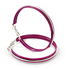 Large Magenta Enamel Hoop Earrings In Silver Tone - 60mm Diameter