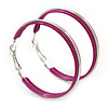 Medium Magenta Enamel Hoop Earrings In Silver Tone - 50mm Diameter