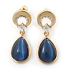 Cobalt Blue Cat Eye Teardrop Earrings In Gold Plating - 33mm Length