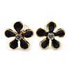 Children's/ Teen's / Kid's Small Black 'Daisy' Floral Stud Earrings In Gold Plating - 10mm Diameter
