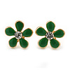 Children's/ Teen's / Kid's Small Green Enamel 'Flower' Stud Earrings In Gold Plating - 12mm Length